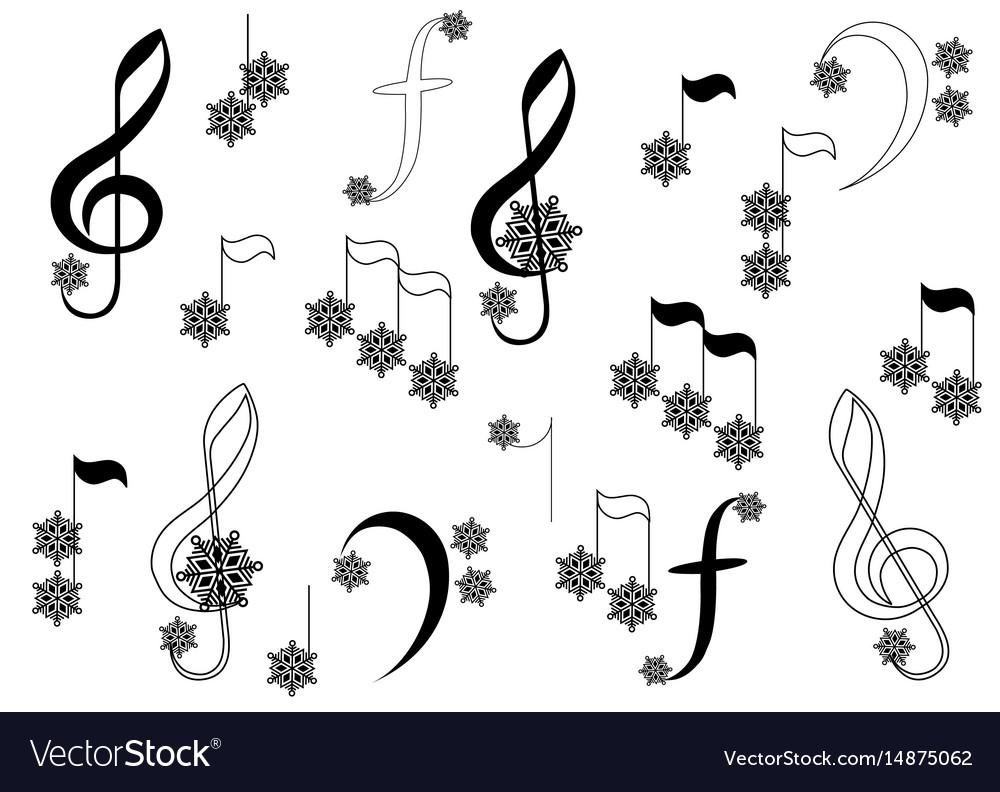 Snowflake notes vector image