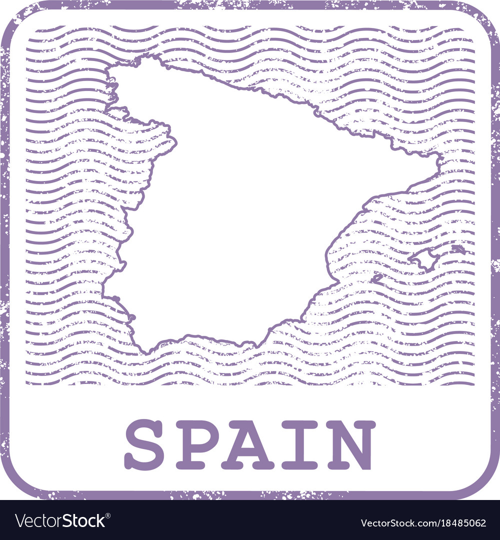Stamp with contour of map of spain