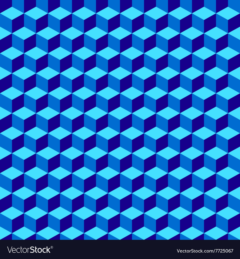 Blue Geometric Volume Seamless Pattern Background