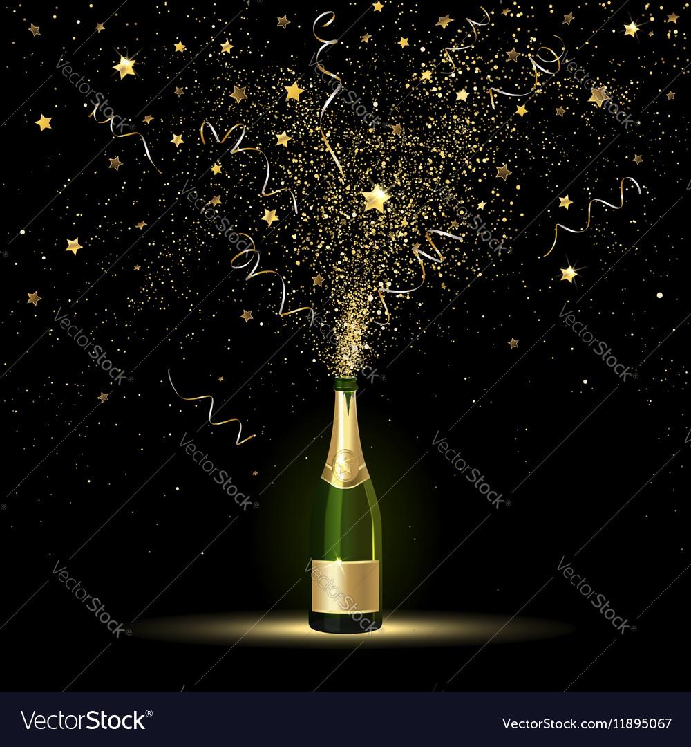 Champagne Gold Confetti Splashes vector image