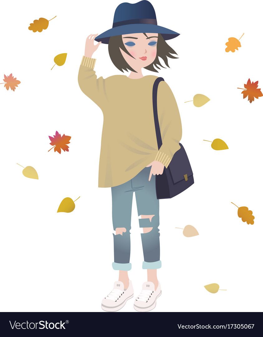 Cute fashion cartoon girl in trendy autumn outfit