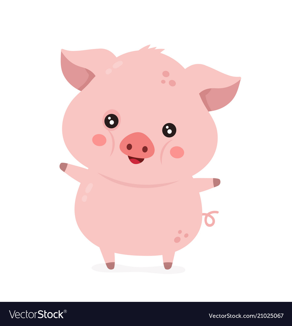 Cute smiling happy funny little pig