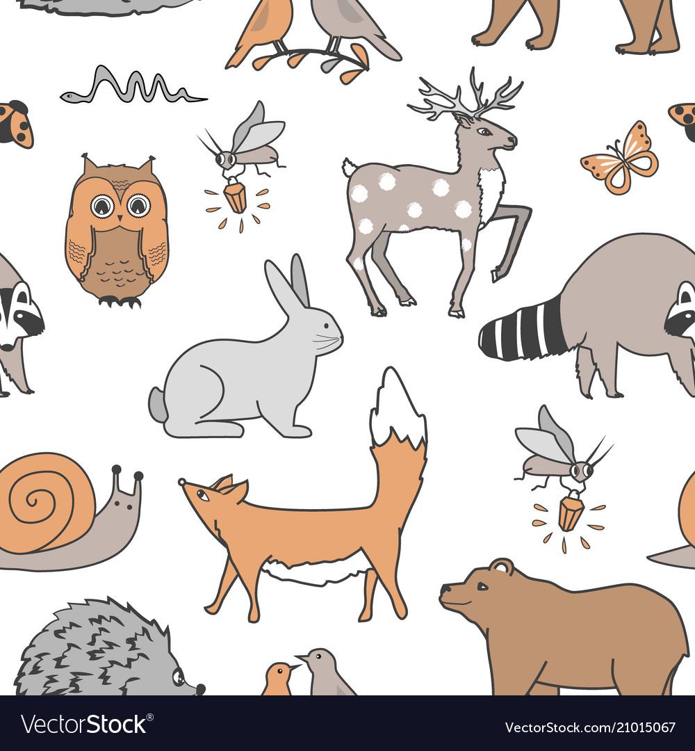Forest animals seamless pattern fox bear raccoon