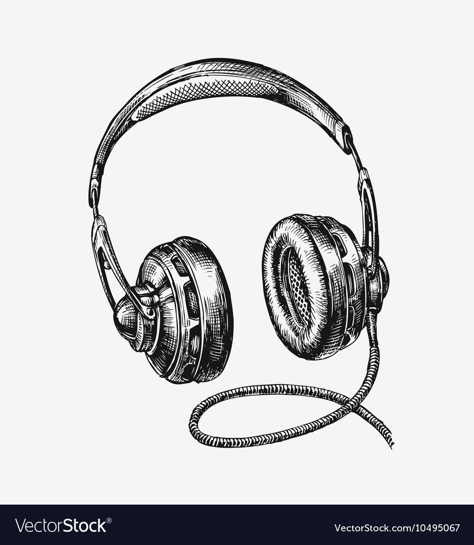 Hand drawn vintage headphones sketch music vector image