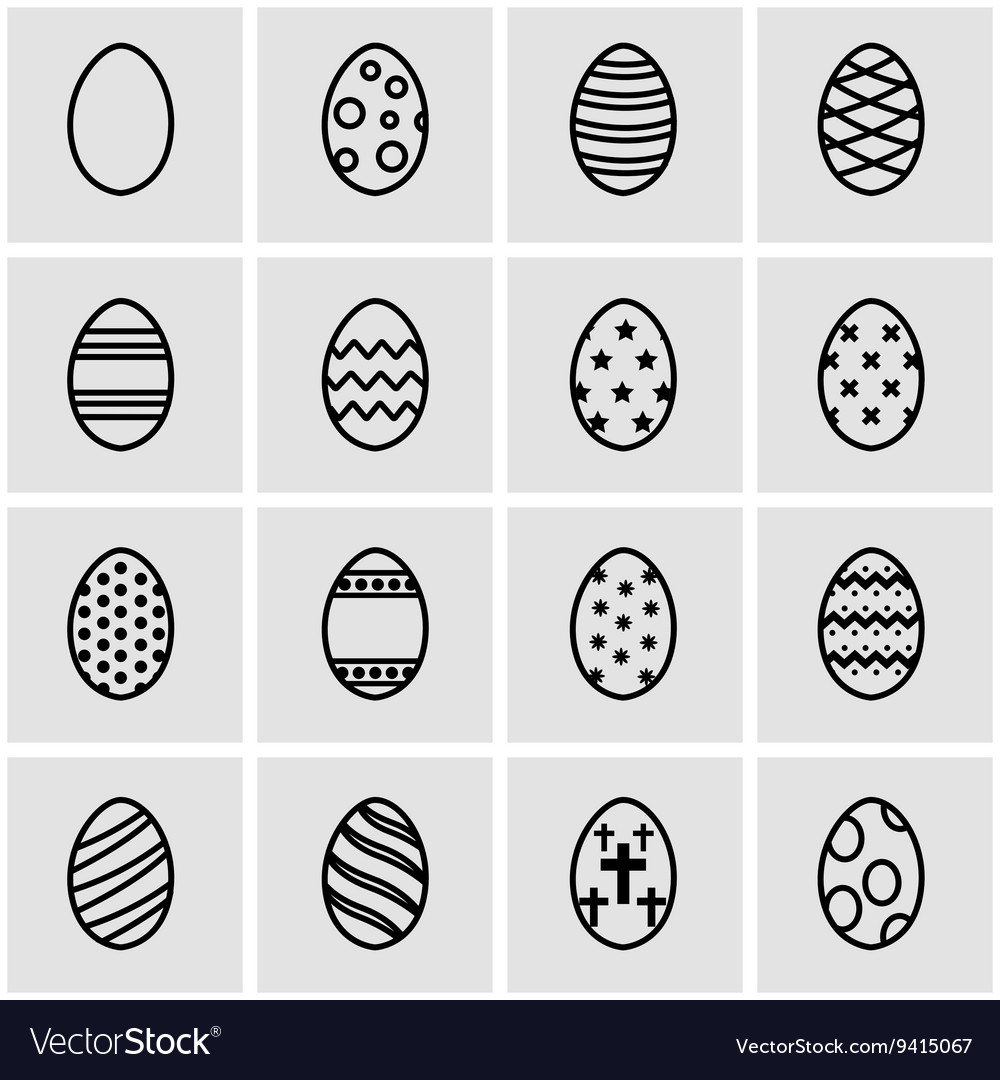 Line easter icon set