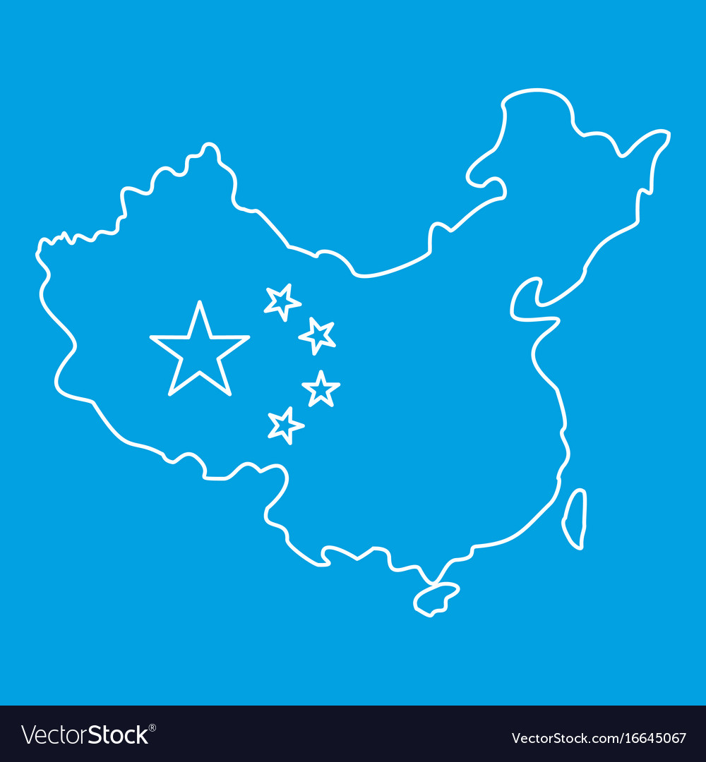 Map of china with flag icon outline style Vector Image