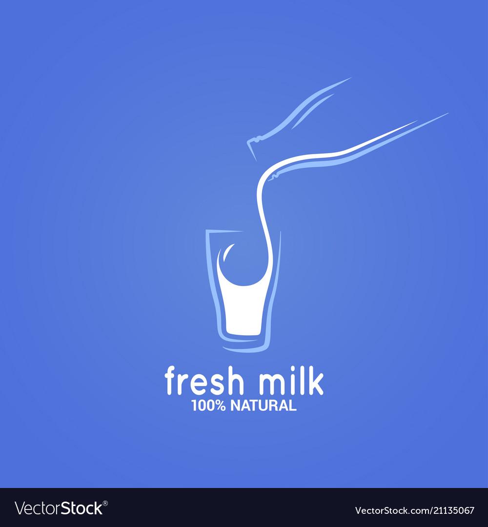 Milk bottle and glass logo on blue background
