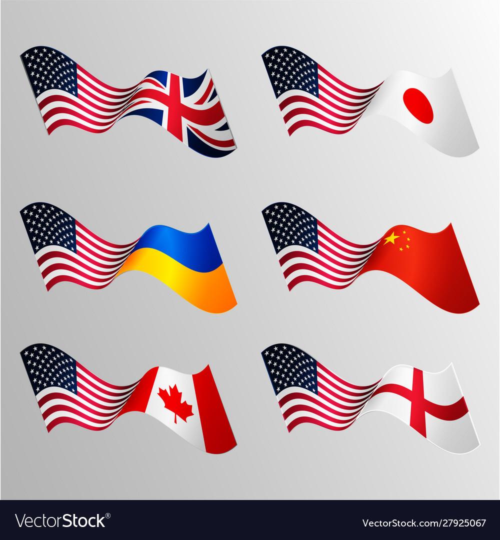 National waving flags usa japan united