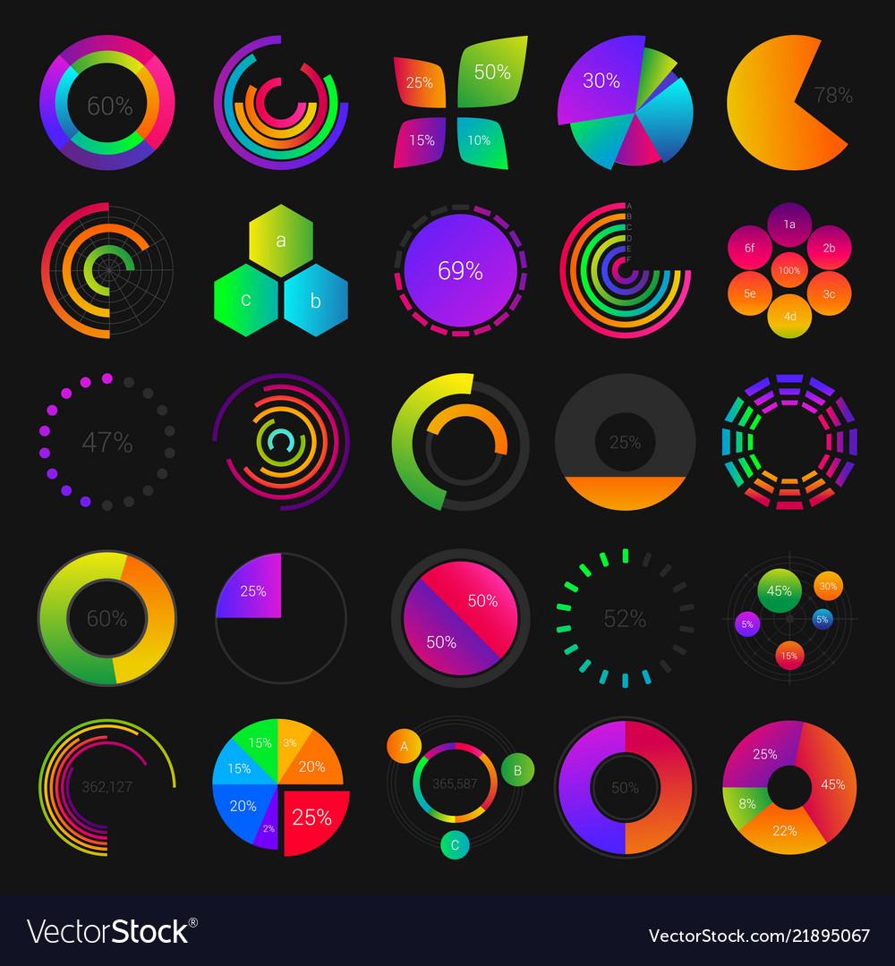 Pie and circle charts diagrams graphs