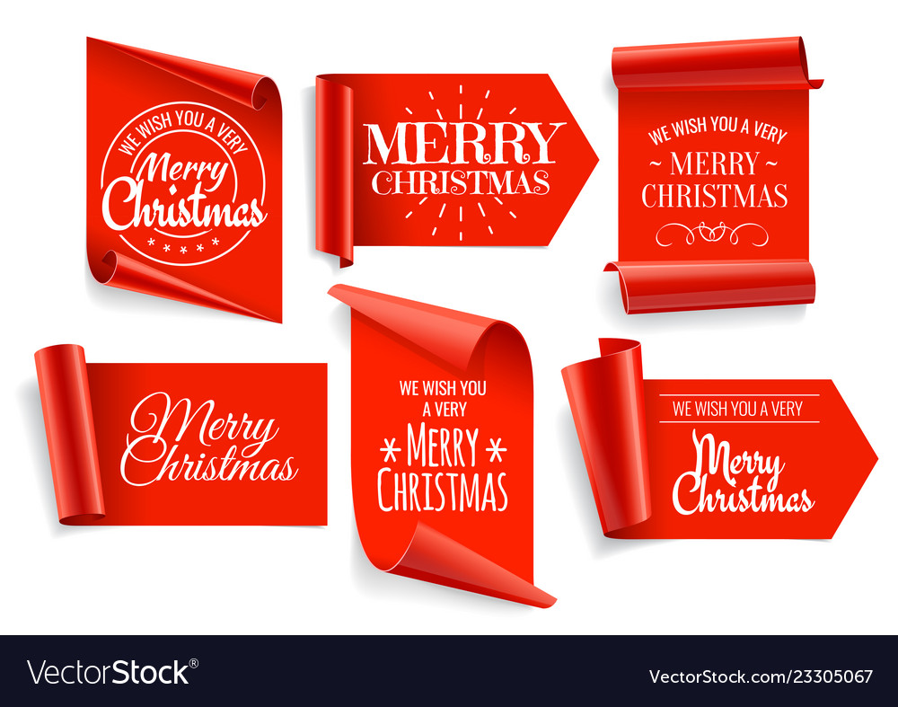 Realistic red paper banners set