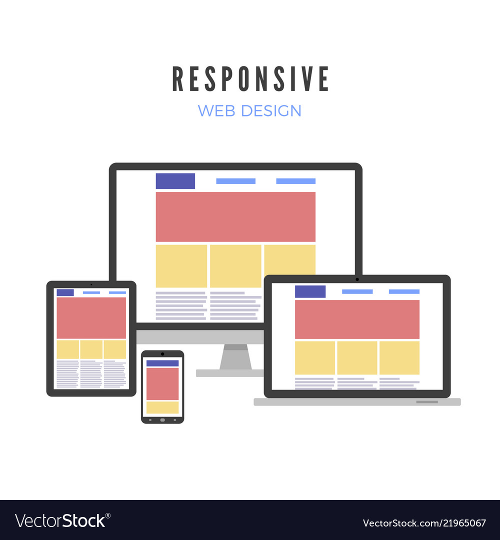 Responsive Web Design Website Template On Vector Image