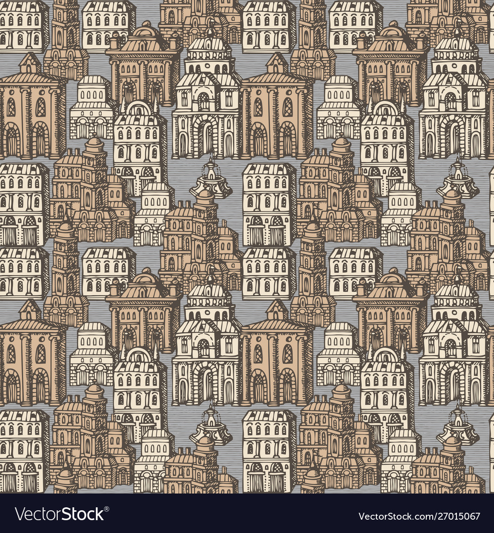 Seamless pattern with old hand drawn houses