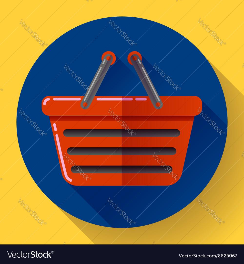 Shopping basket icon Flat design style