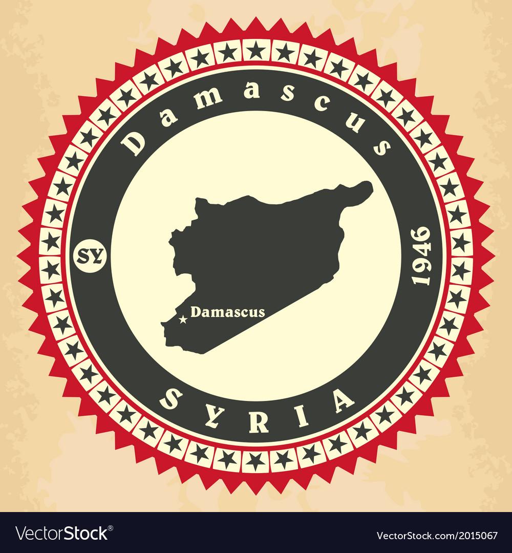 Vintage label-sticker cards of Syria vector image