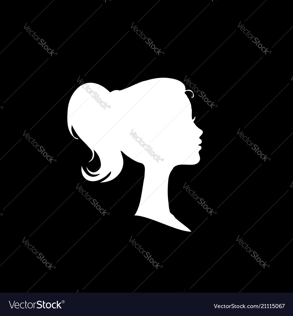 White profile silhouette of young girl or woman