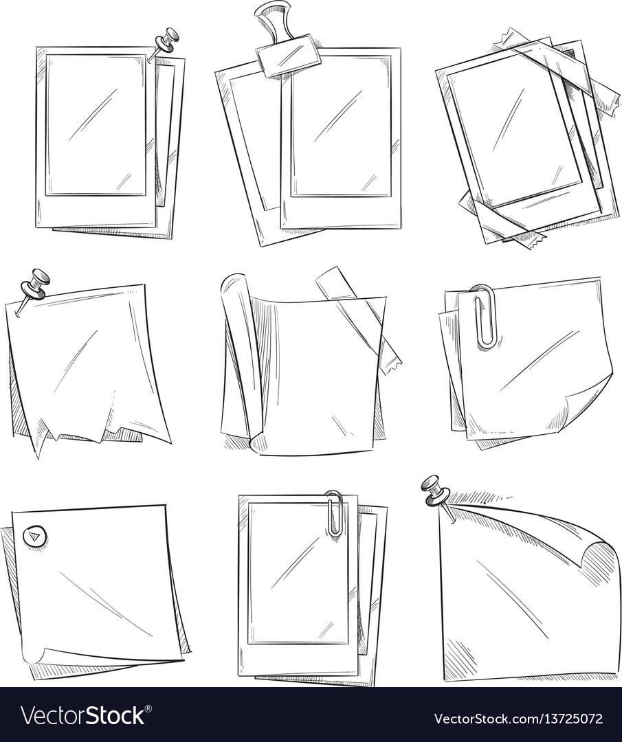 Blank vintage photo frames doodle