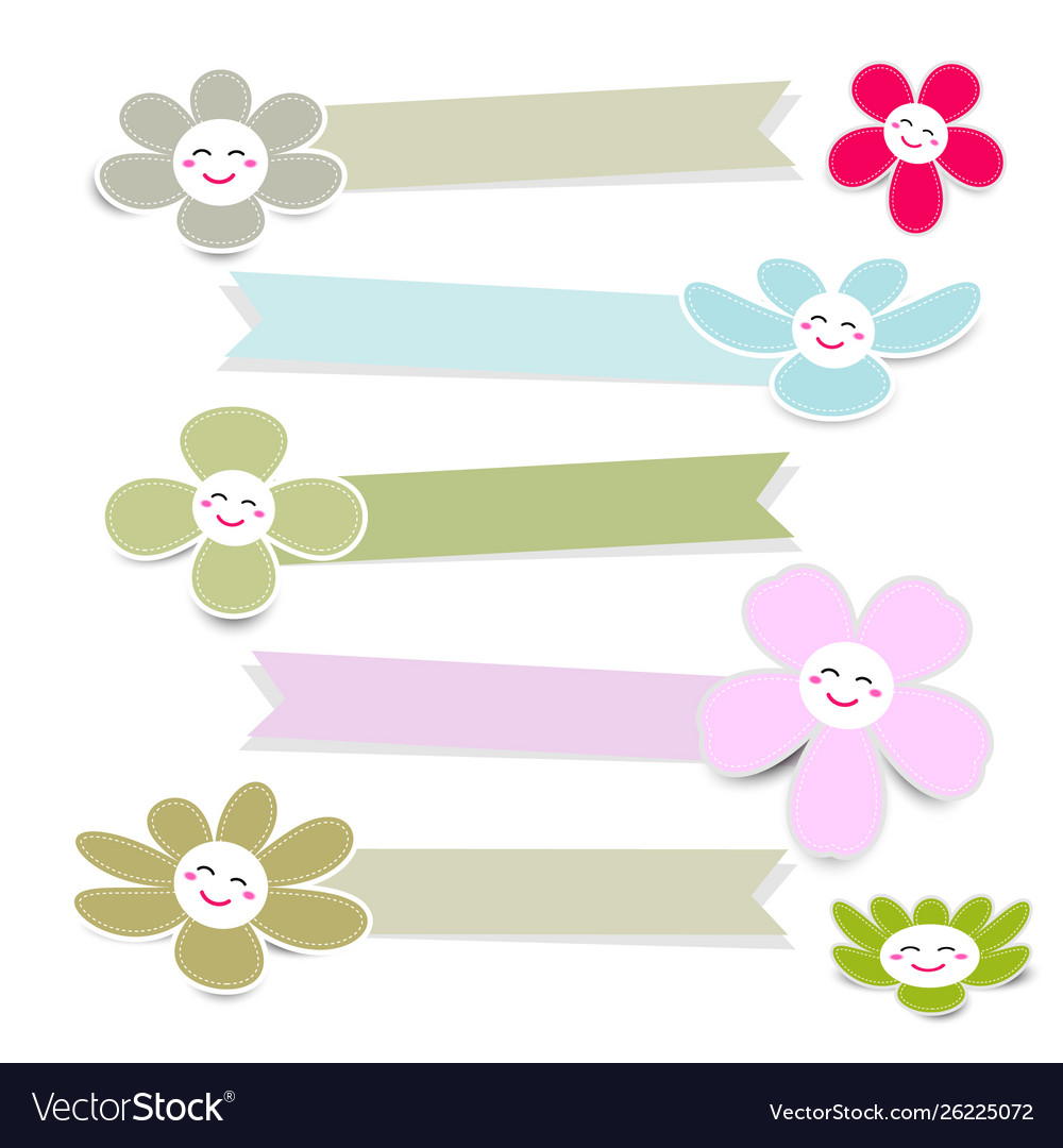 Cute flower paper with ribbon on white background