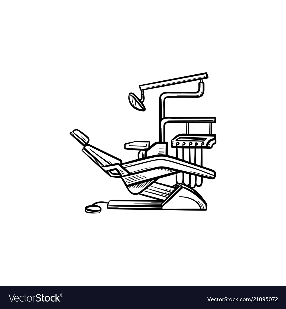 Dental chair hand drawn outline doodle icon