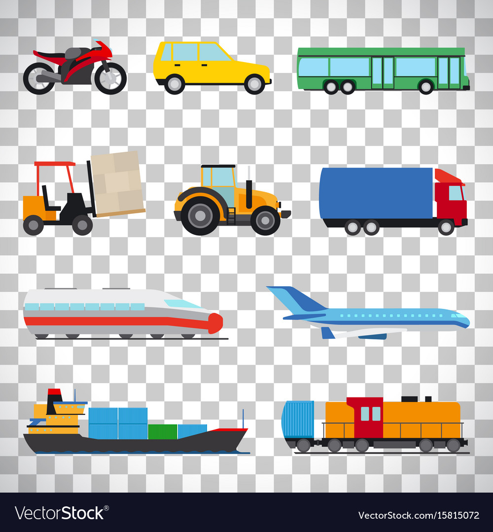 Flat car icons on transparent background