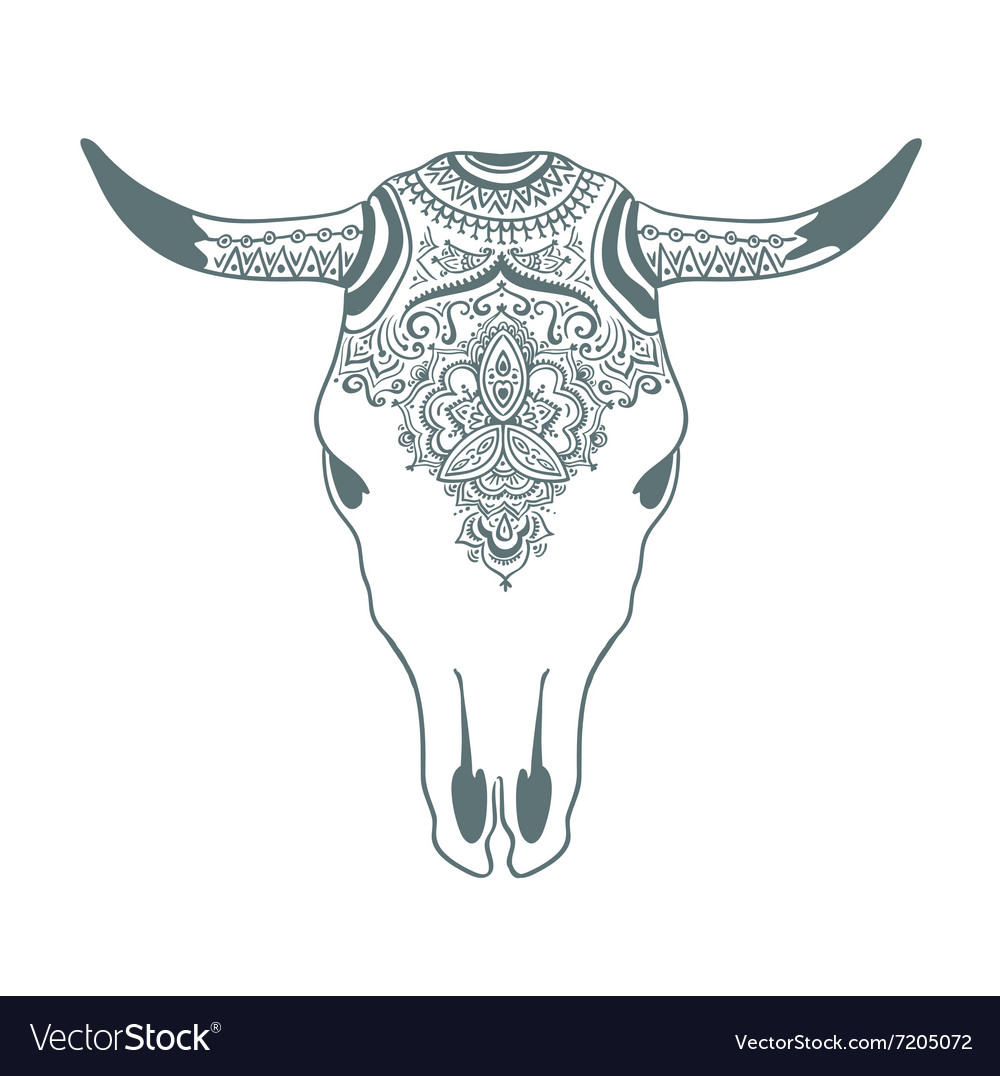 Hand Drawn Cow Skull With Ornament Bohemian Design