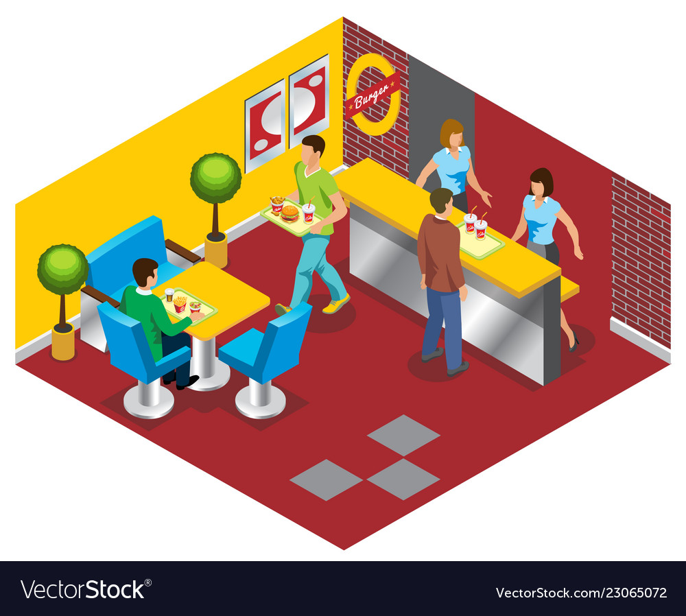Isometric fast food restaurant concept