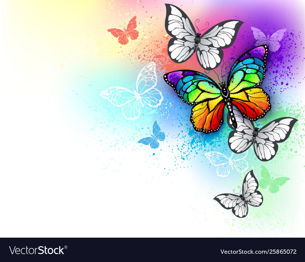 White Background With Rainbow Butterfly Royalty Free Vector