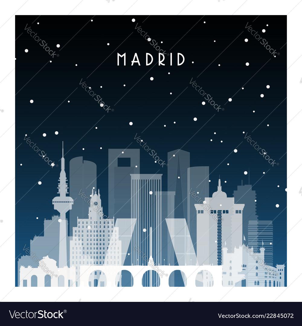 Winter night in madrid night city in flat style