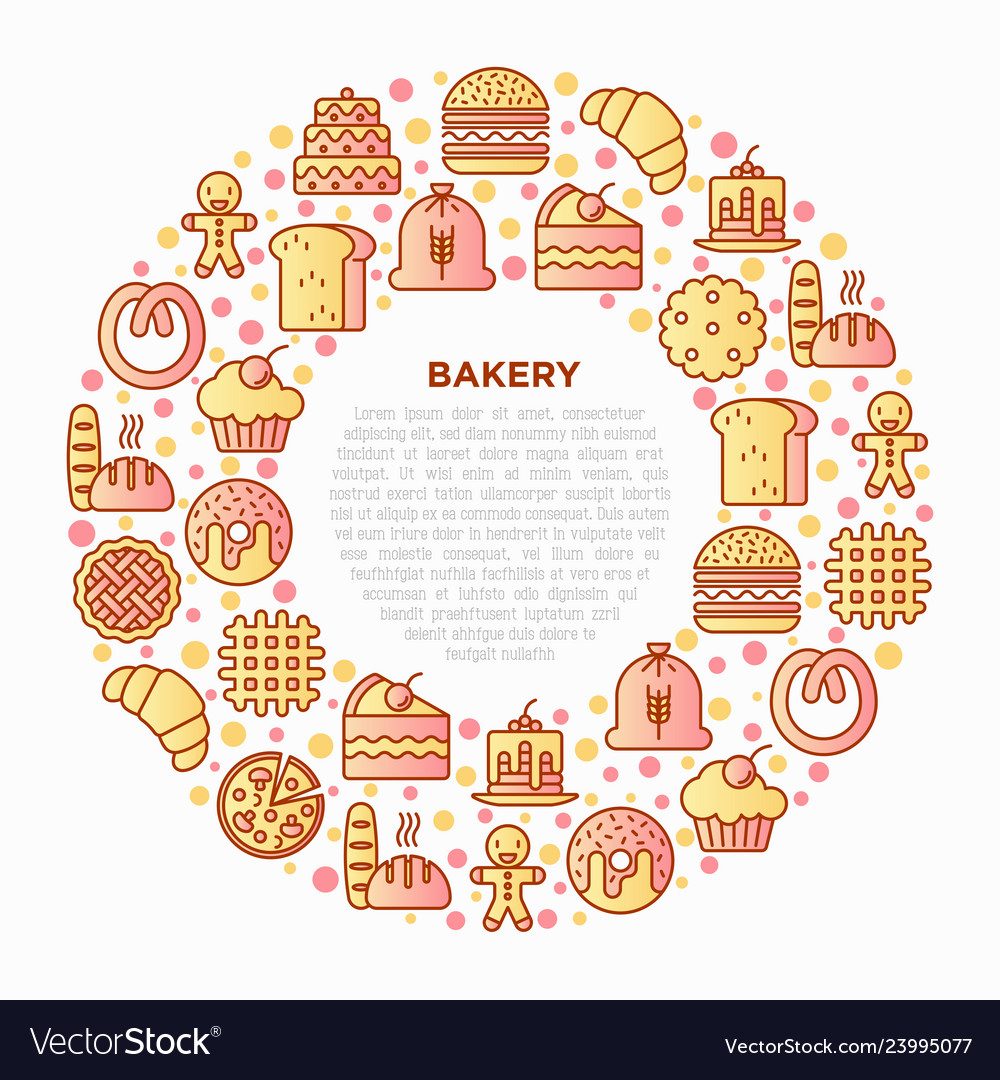 Bakery concept in circle with thin line icons