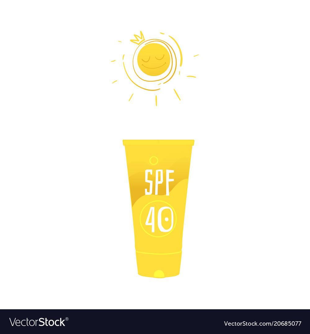 Flat beach suntan uv cream yellow bottle