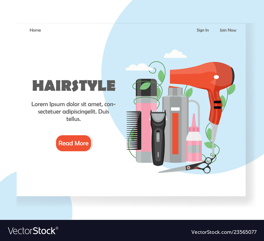 Hairstyle Website Landing Page Design