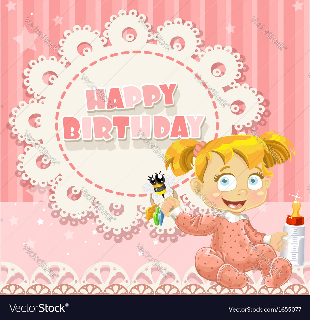Happy Birthday My Little Princess Baby Girl Vector Image