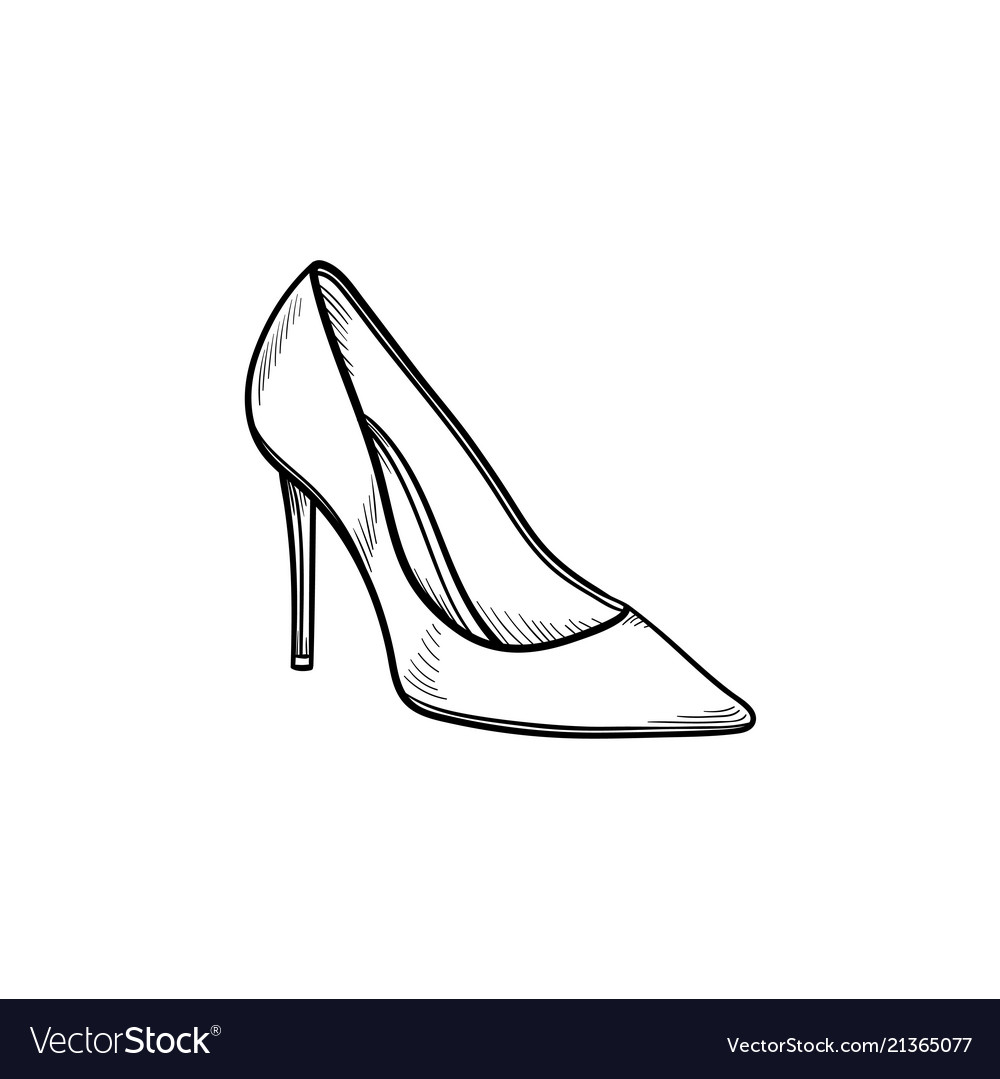High heel shoe hand drawn outline doodle icon