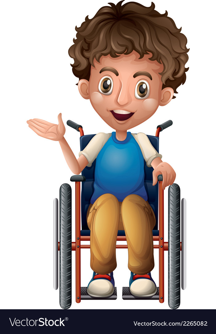 A happy man riding on a wheelchair vector image