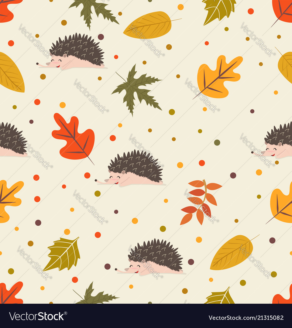Autumn leaf pattern with hedgehog