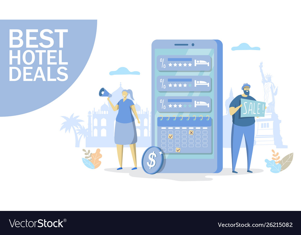 Best Hotel Deals Concept For Web Banner Royalty Free Vector