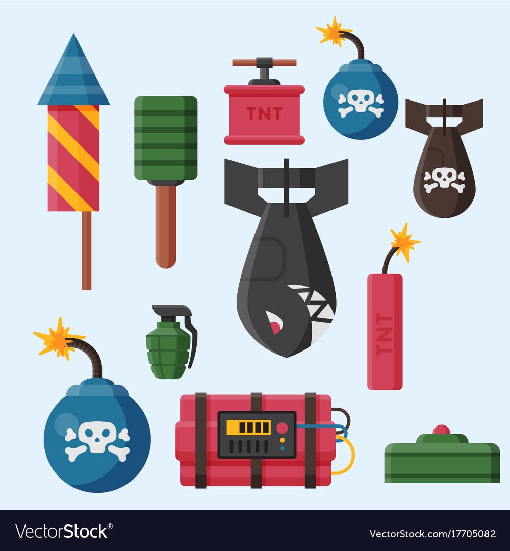 Bomb dynamite fuse grenade vector image on VectorStock