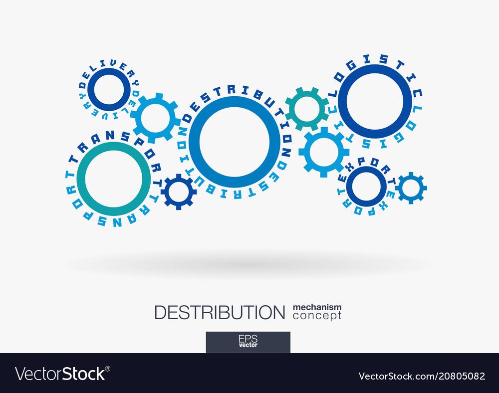 Connected cogwheels logistic destribution