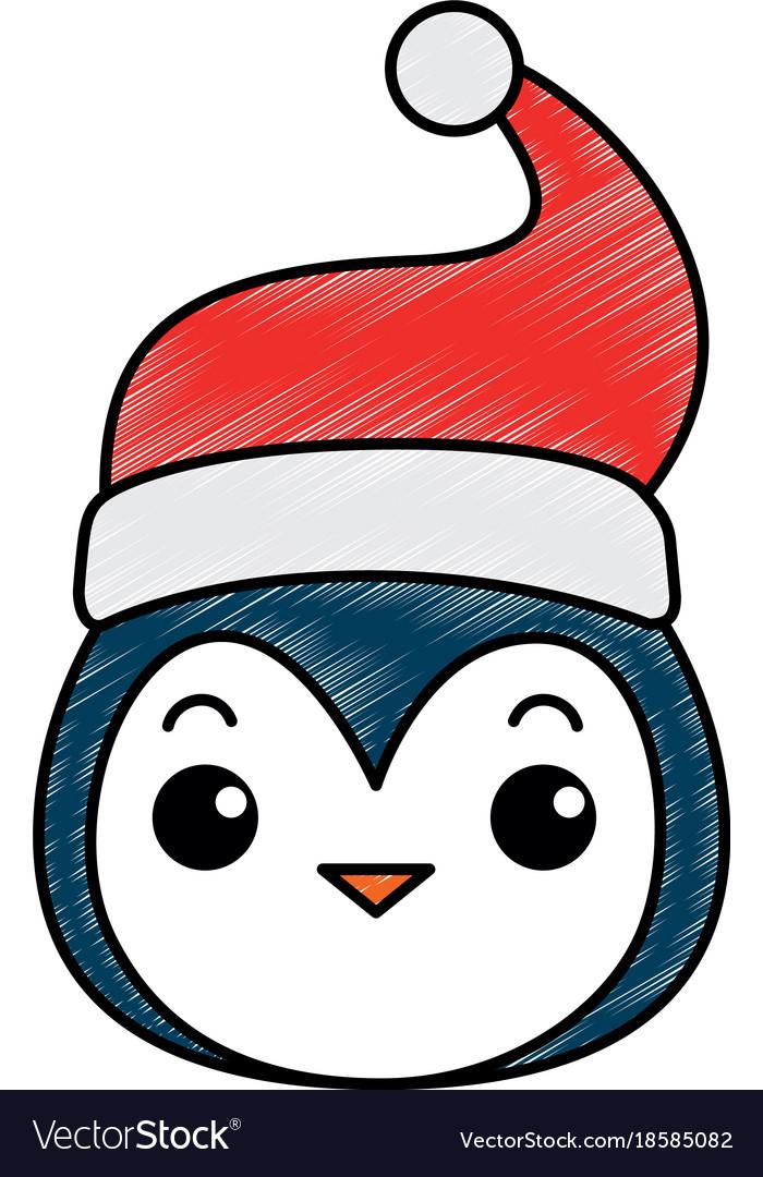 631c66405450f Cute penguin head with christmas hat kawaii Vector Image