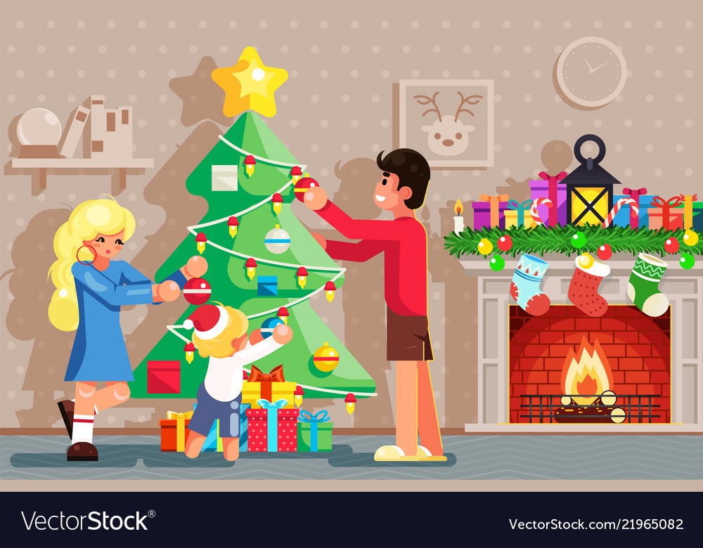 Family decorating year tree winter