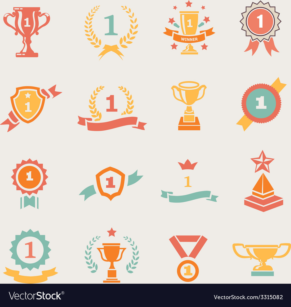 First Place Badges and Winner Ribbons vector image