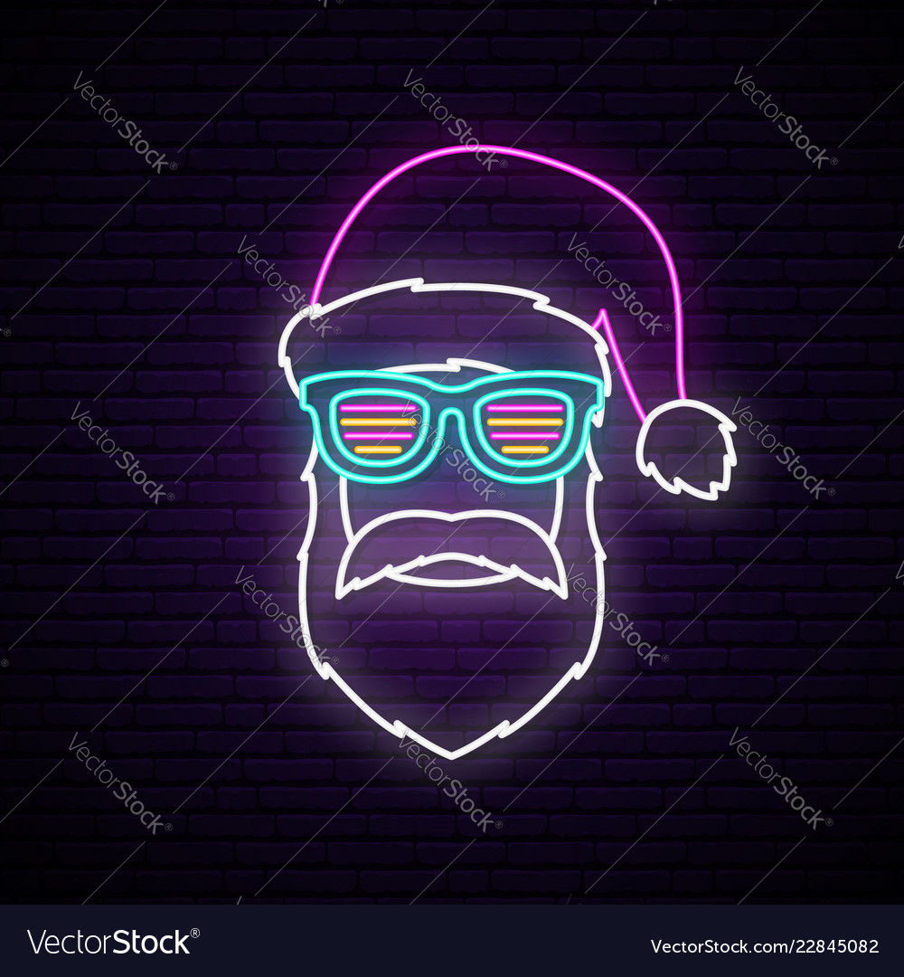 Neon signboard with santa claus portrait
