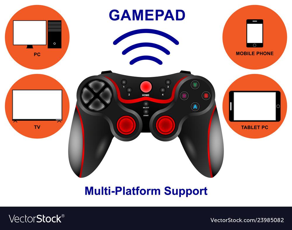 Realistic wireless gamepad multi-platform support vector image