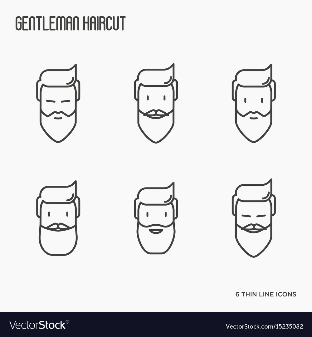 Set of icons with bearded men vector image