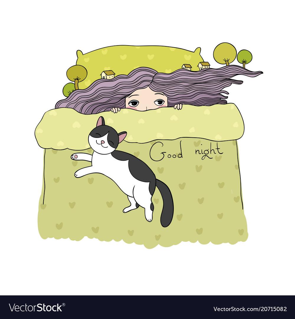 Sleeping girl and cats good night sweet dreams