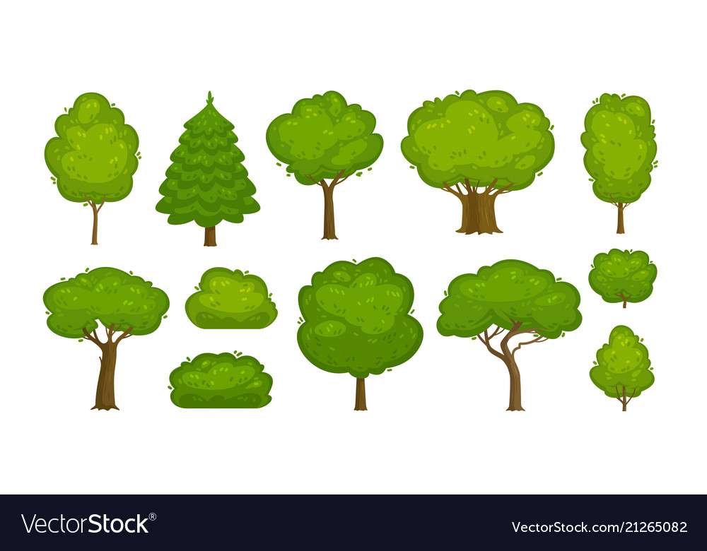 Trees and bushes set of icons forest nature