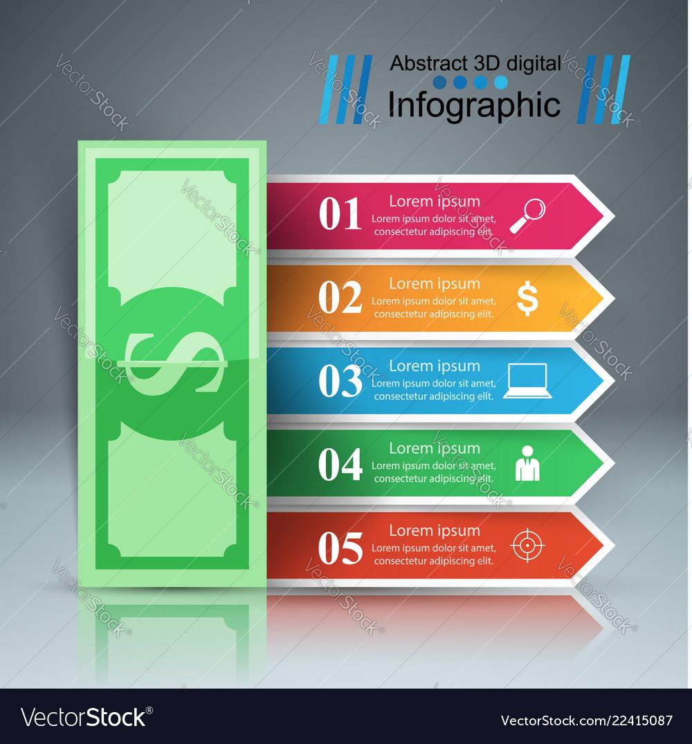 3d infographic design dollar icon