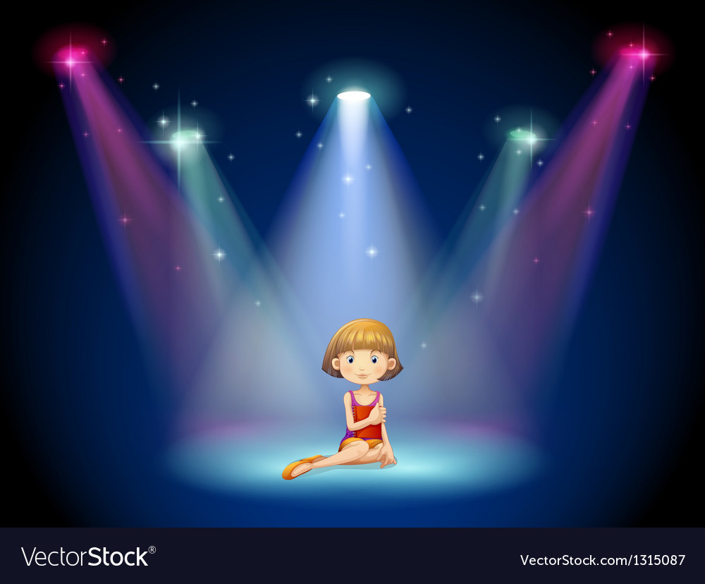 A girl acting on the stage with spotlights vector image