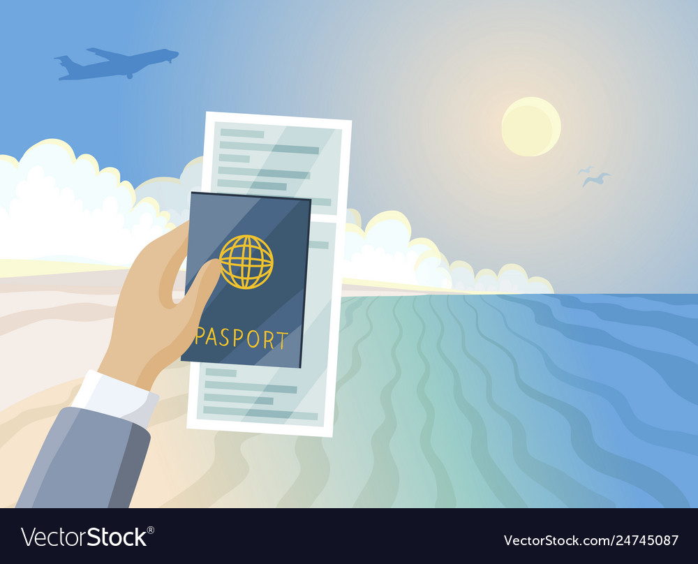 Air ticket and passport in hand summer paradise