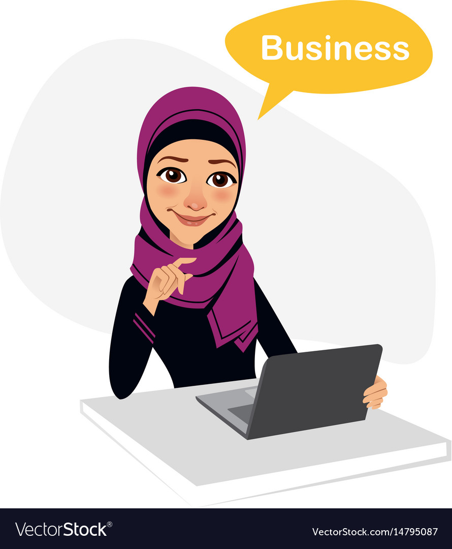 Arab business woman works with laptop on table