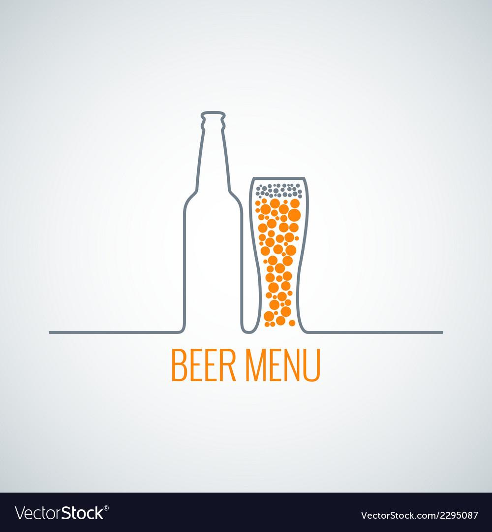 Beer bottle glass menu background vector image